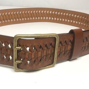 Leather Belt XL Brown Woven Design Brass Buckle